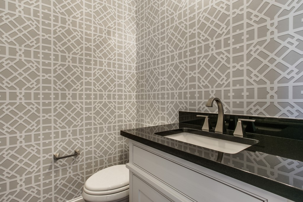 powder room with wallpaper - Bathroom Remodel Fort Worth