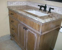 Faux-finished Vanity Cabinet